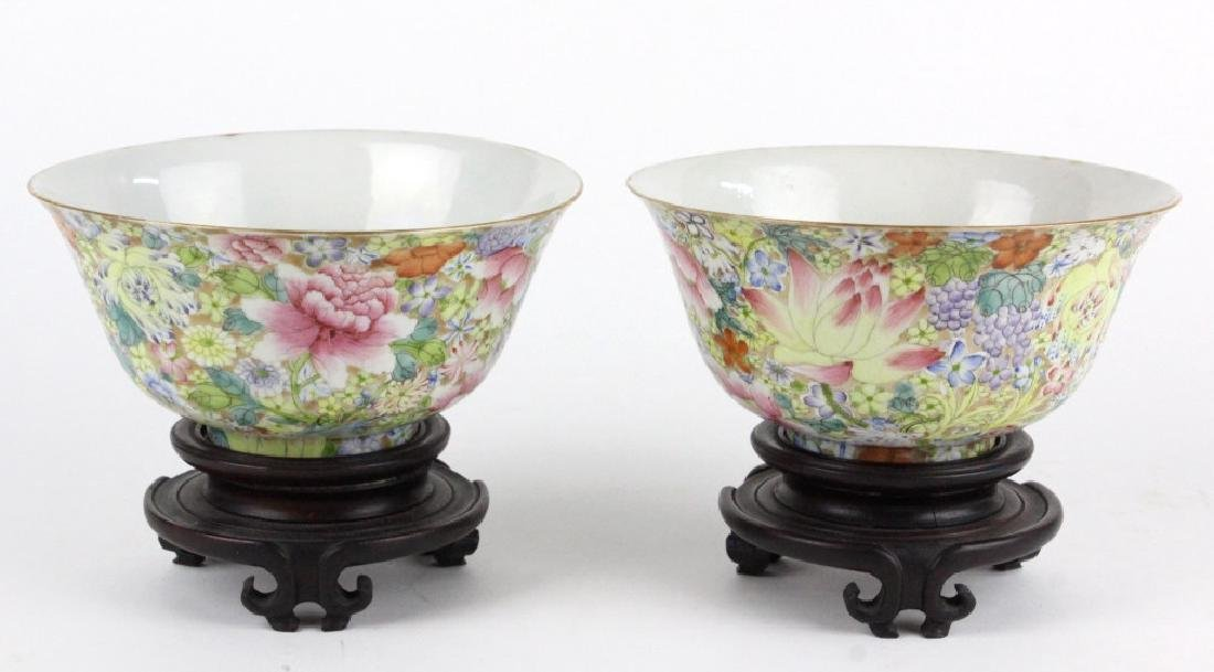 Pair Chinese 1000 Flowers Rose Porcelain Bowls - 6