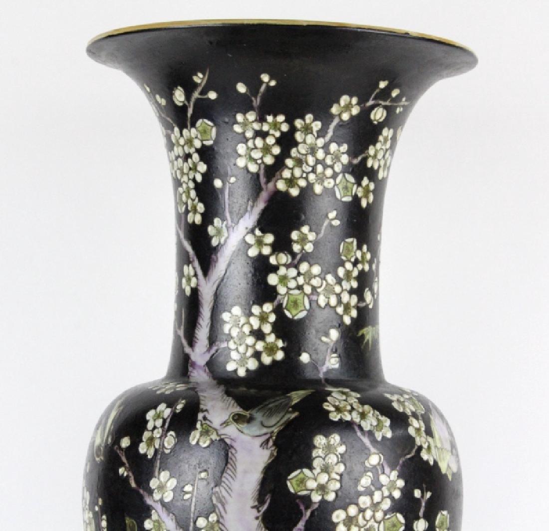 "Chinese Famille Noire Baluster Porcelain Vase 24"" - 2"