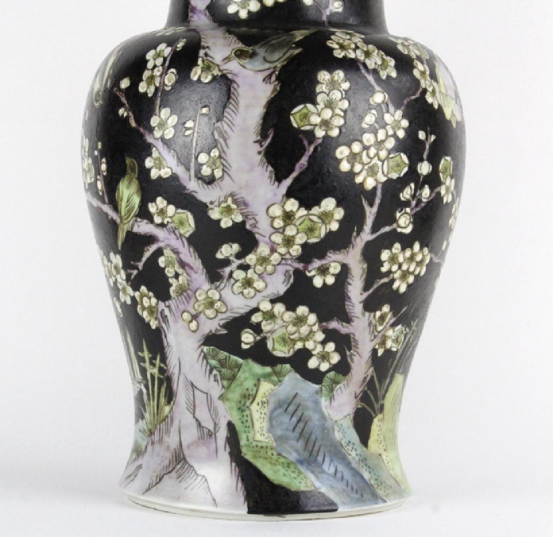 "Chinese Famille Noire Baluster Porcelain Vase 24"" - 3"