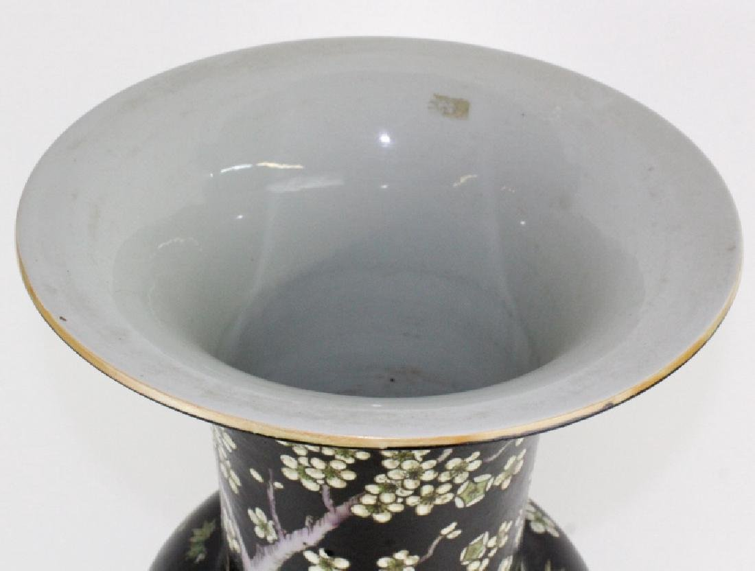 "Chinese Famille Noire Baluster Porcelain Vase 24"" - 5"