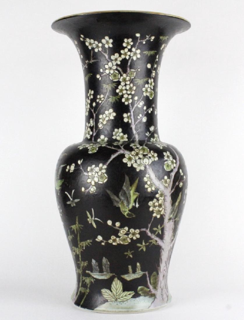 "Chinese Famille Noire Baluster Porcelain Vase 24"" - 6"