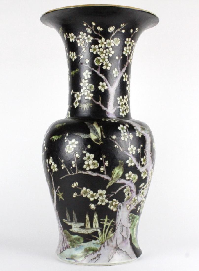 "Chinese Famille Noire Baluster Porcelain Vase 24"" - 7"