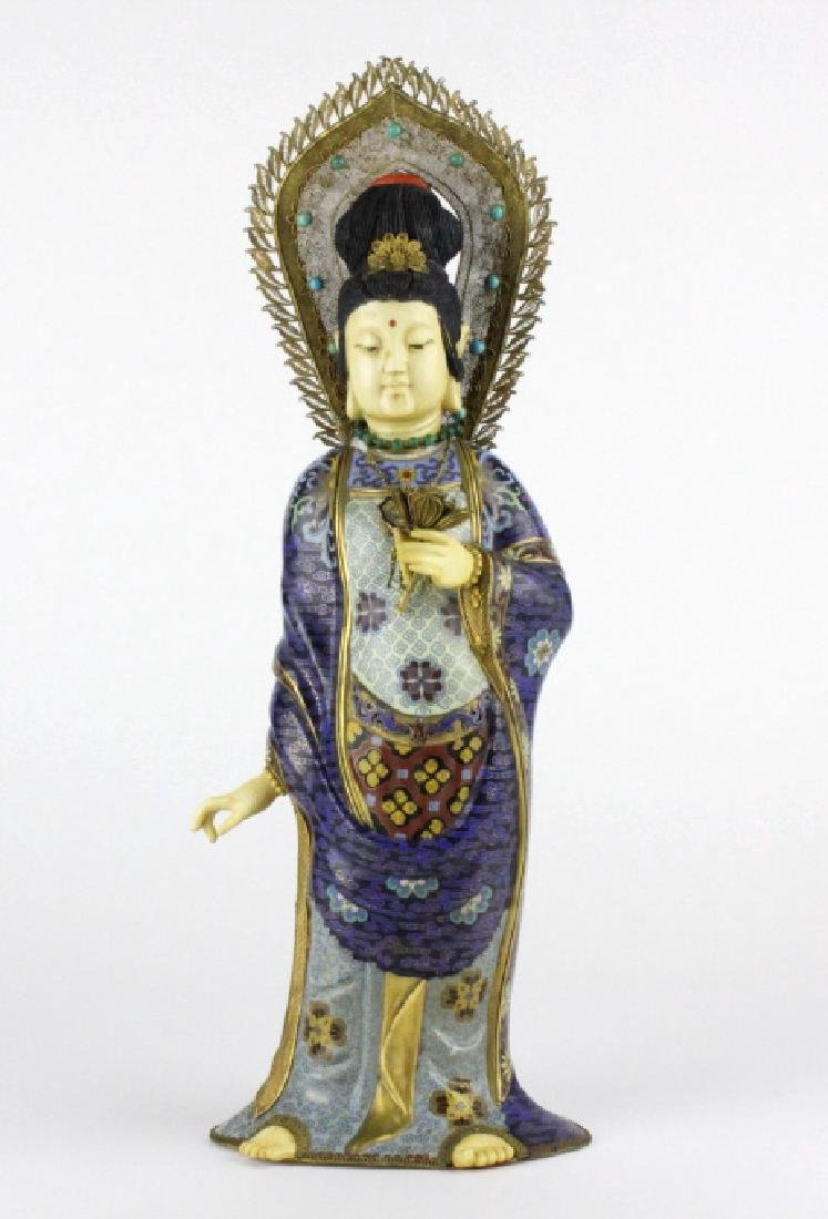 Chinese Silver Filigree Cloisonne Beauty Statue