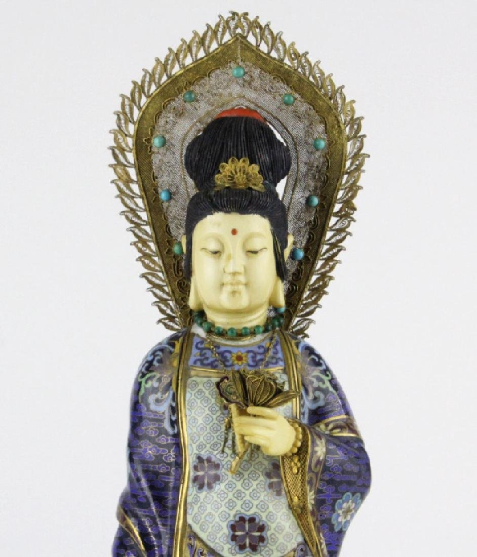 Chinese Silver Filigree Cloisonne Beauty Statue - 2