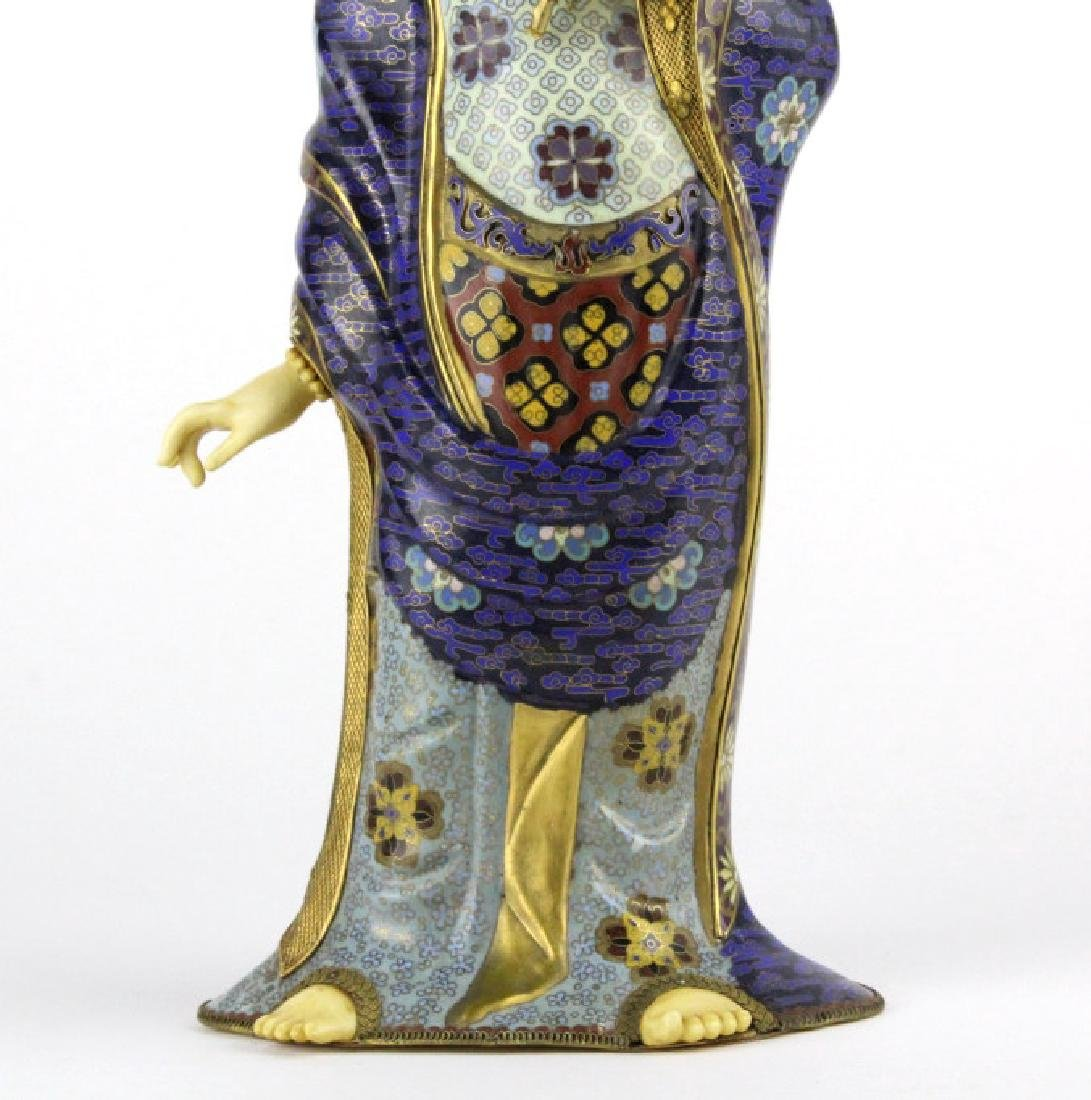 Chinese Silver Filigree Cloisonne Beauty Statue - 3