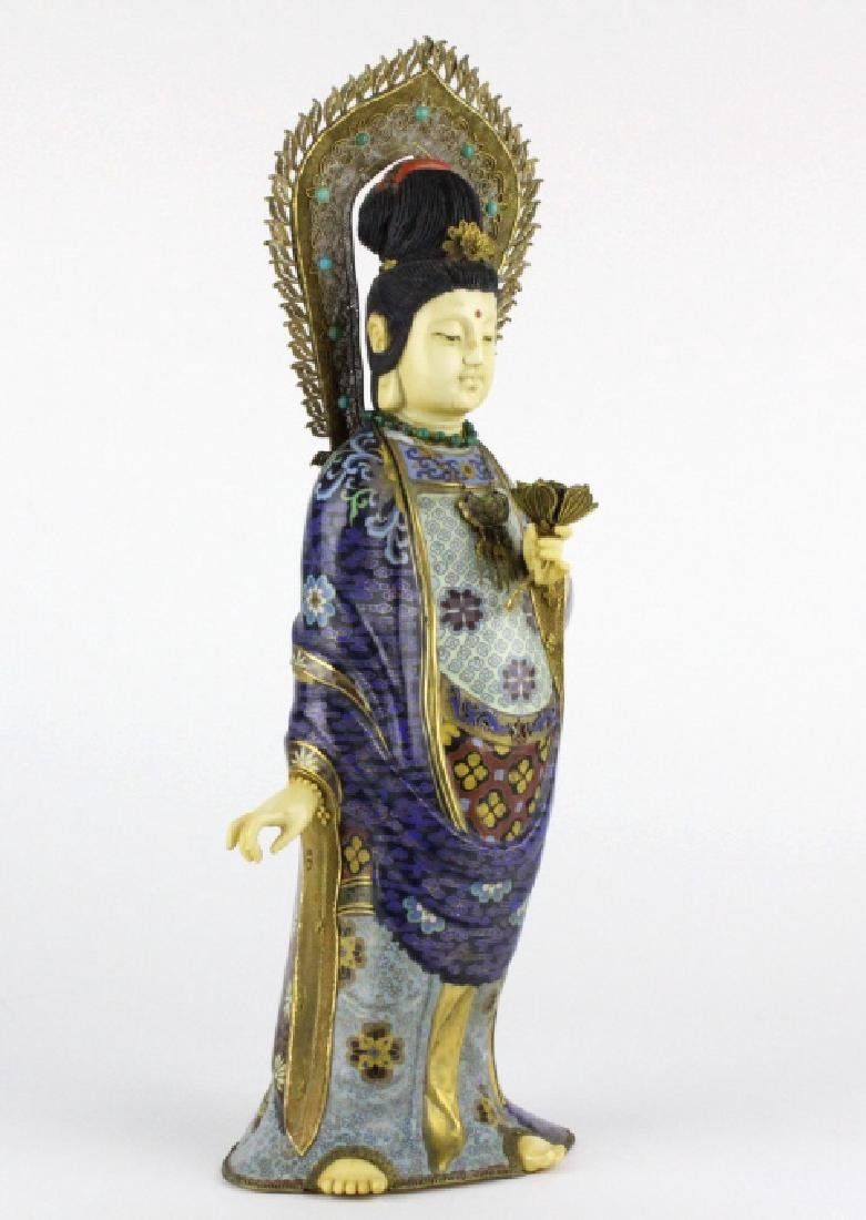 Chinese Silver Filigree Cloisonne Beauty Statue - 4