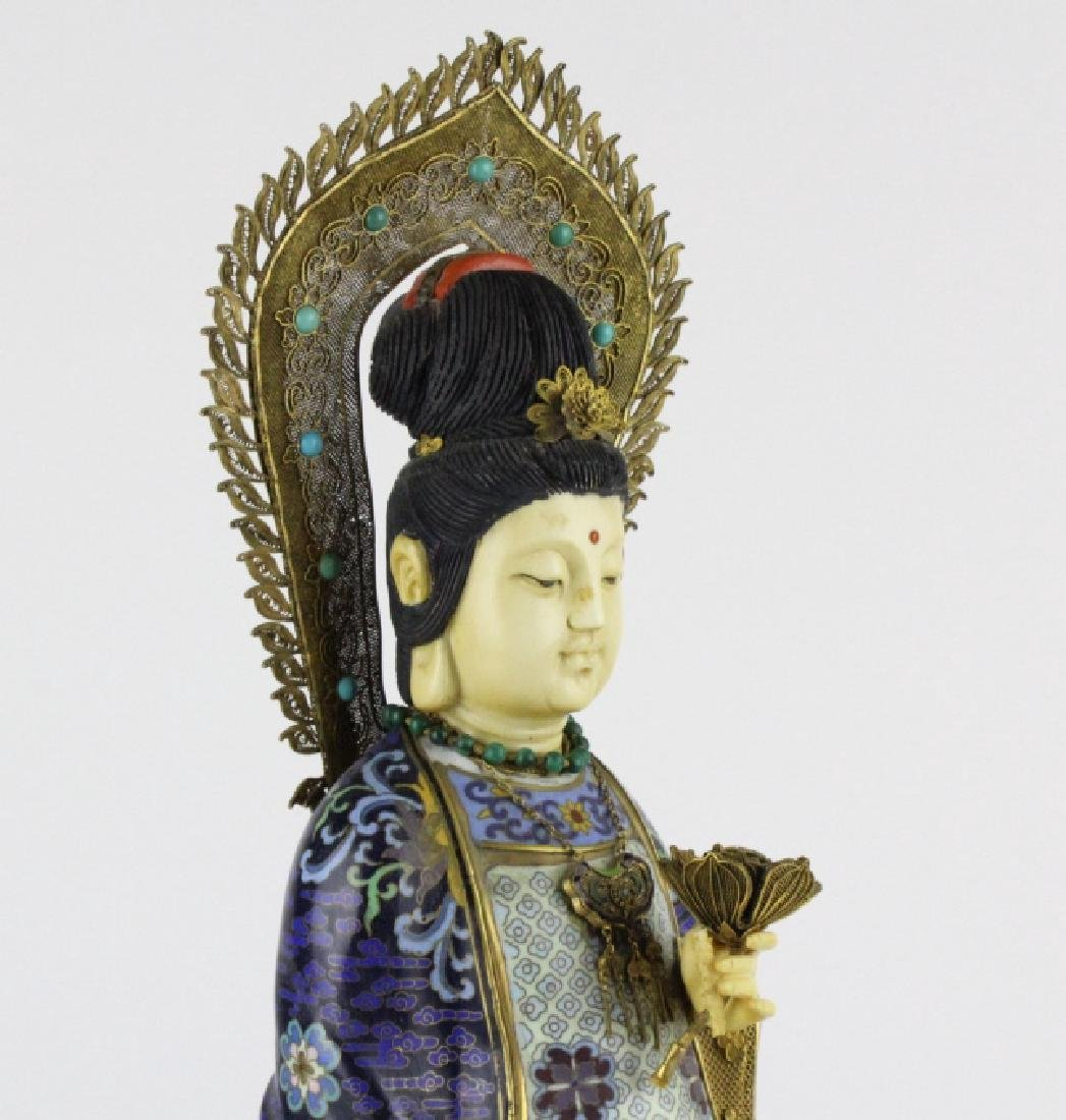 Chinese Silver Filigree Cloisonne Beauty Statue - 5