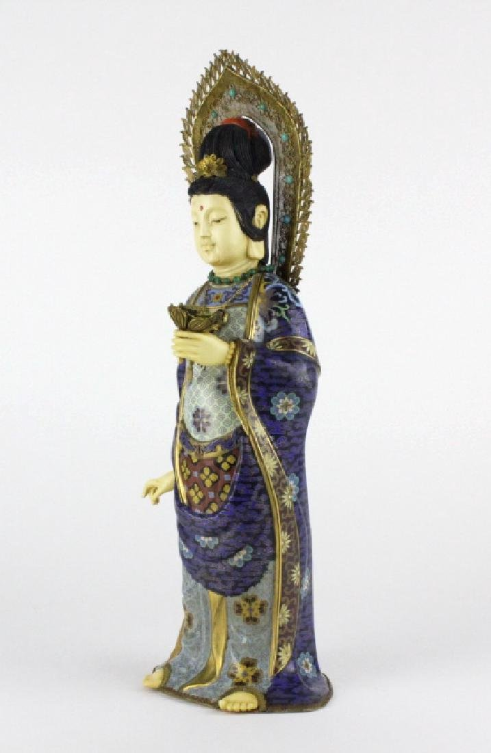 Chinese Silver Filigree Cloisonne Beauty Statue - 6