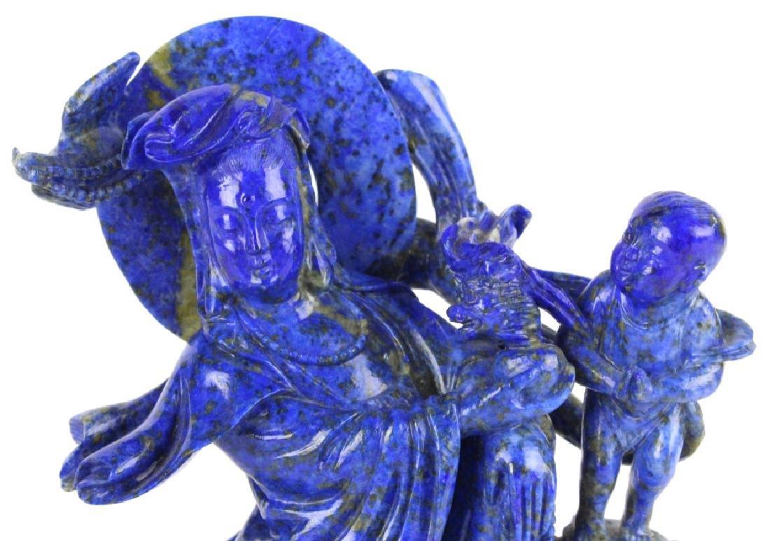 Chinese Carved Blue Lapis Lazuli Kwan Yin w Child - 2