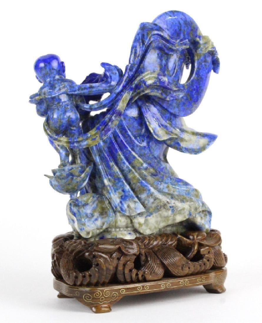 Chinese Carved Blue Lapis Lazuli Kwan Yin w Child - 4