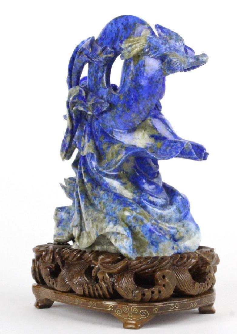 Chinese Carved Blue Lapis Lazuli Kwan Yin w Child - 5