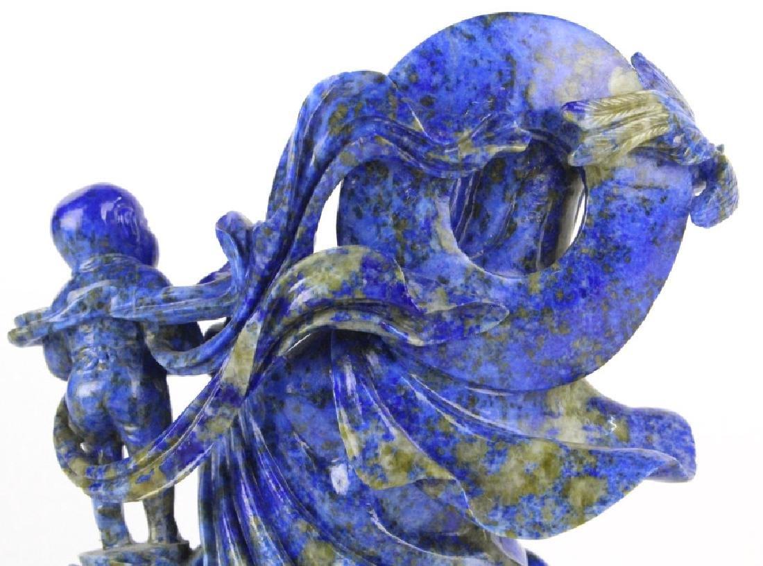 Chinese Carved Blue Lapis Lazuli Kwan Yin w Child - 6