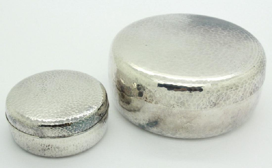 PAIR of Chinese Hammered Silver Lidded Pill Box