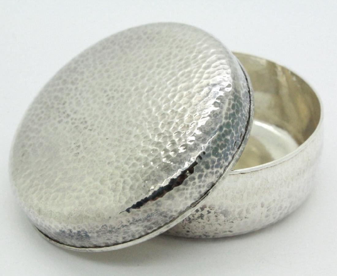 PAIR of Chinese Hammered Silver Lidded Pill Box - 4