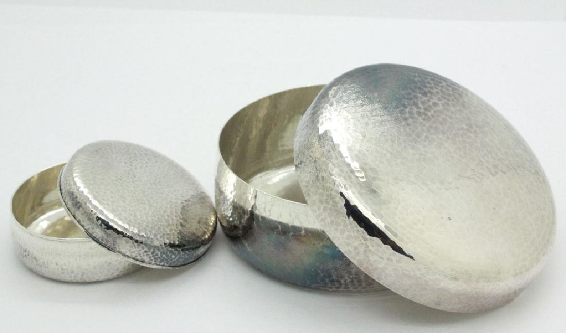 PAIR of Chinese Hammered Silver Lidded Pill Box - 5