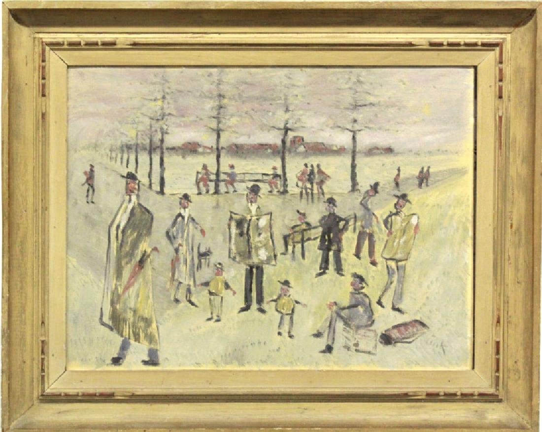 Phillip Pieck Modernist Men in Park Oil Painting