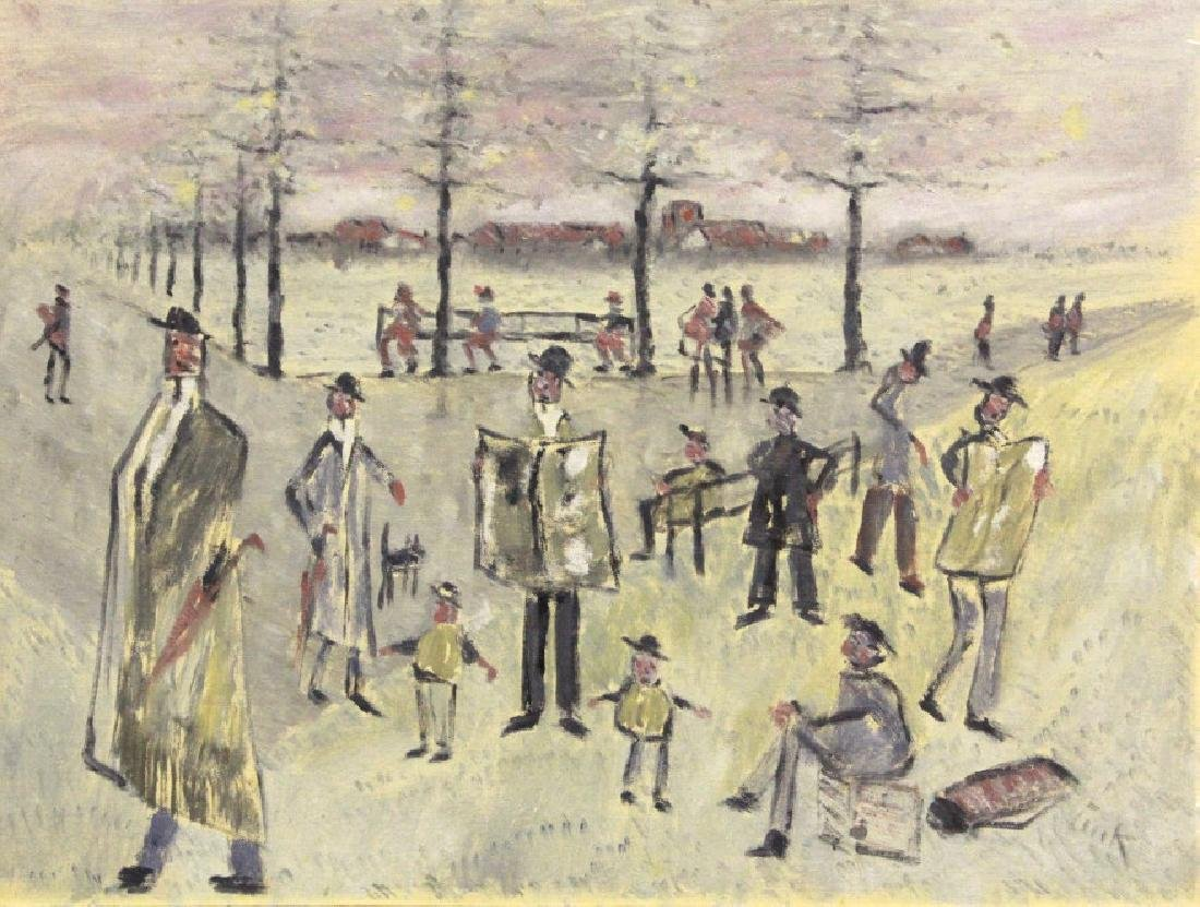 Phillip Pieck Modernist Men in Park Oil Painting - 2