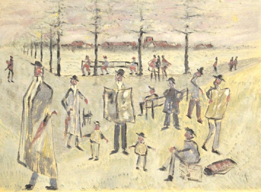 Phillip Pieck Modernist Men in Park Oil Painting - 5