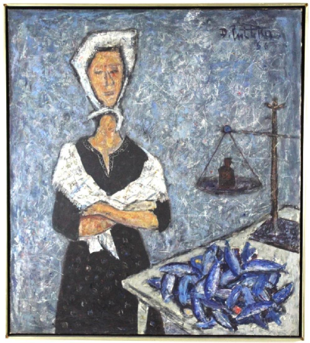 DURO PULITIKA Modernist Woman w Fish Oil Painting