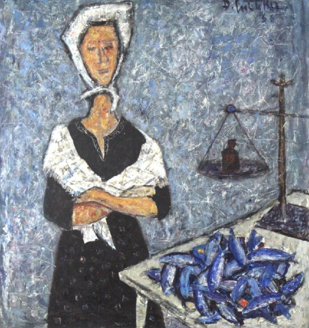 DURO PULITIKA Modernist Woman w Fish Oil Painting - 2