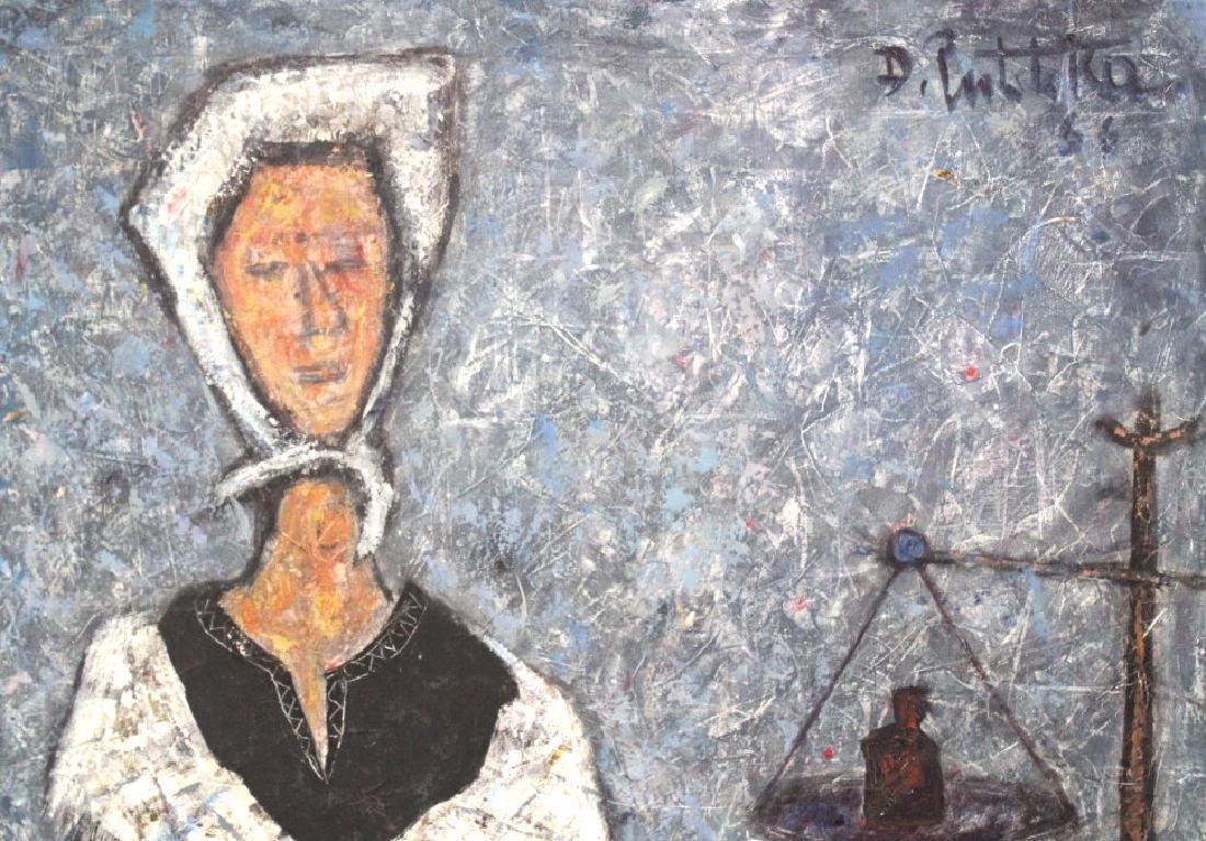 DURO PULITIKA Modernist Woman w Fish Oil Painting - 4
