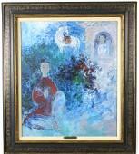 Vu Cao Dam Le Pagodon Oil Painting w Findlay Label