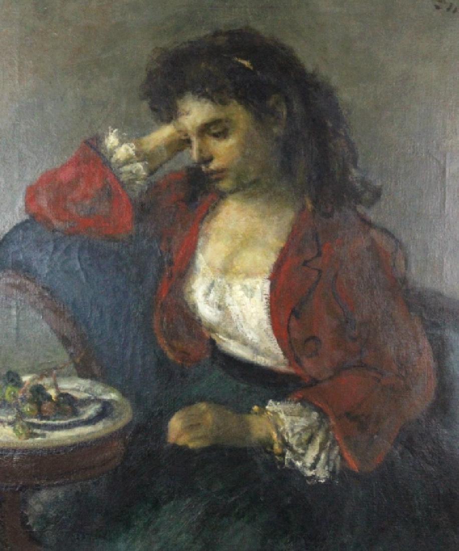 ROBERT PHILLIPP Girl in Red Portrait Oil Painting