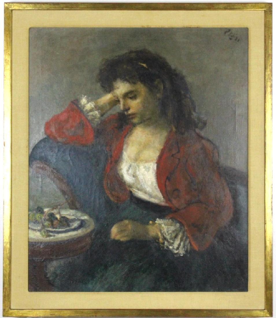 ROBERT PHILLIPP Girl in Red Portrait Oil Painting - 2