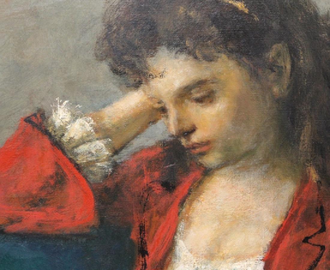 ROBERT PHILLIPP Girl in Red Portrait Oil Painting - 5