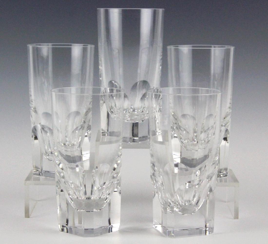 5 BACCARAT Art Crystal Pluton Highball Glasses SET