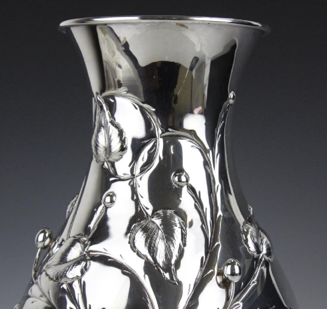 "BIG 12"" Italian Sterling Silver Flower Vase 1130g. - 2"