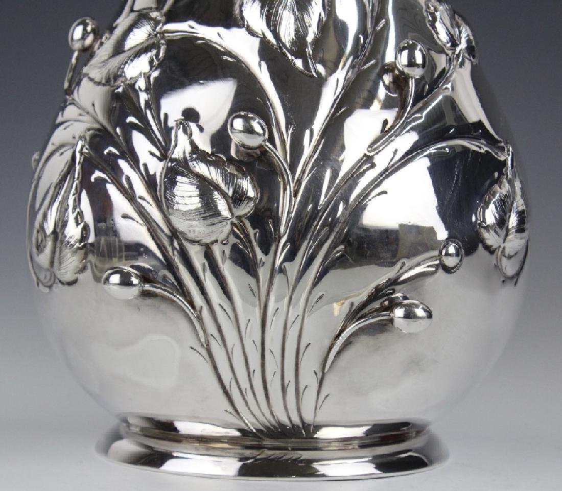 "BIG 12"" Italian Sterling Silver Flower Vase 1130g. - 3"