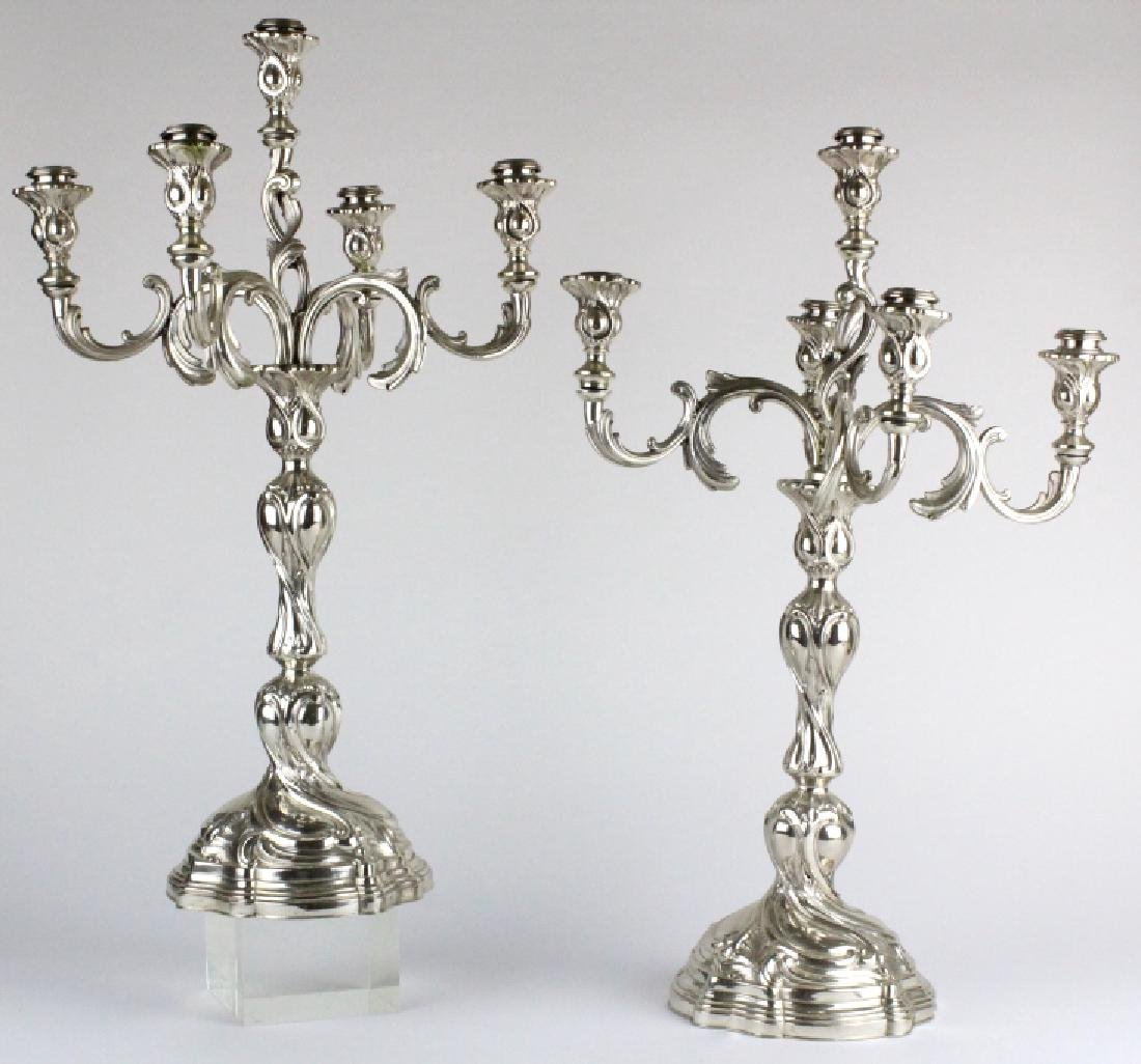 Antique PAIR German 800 Silver 5 Light Candelabras