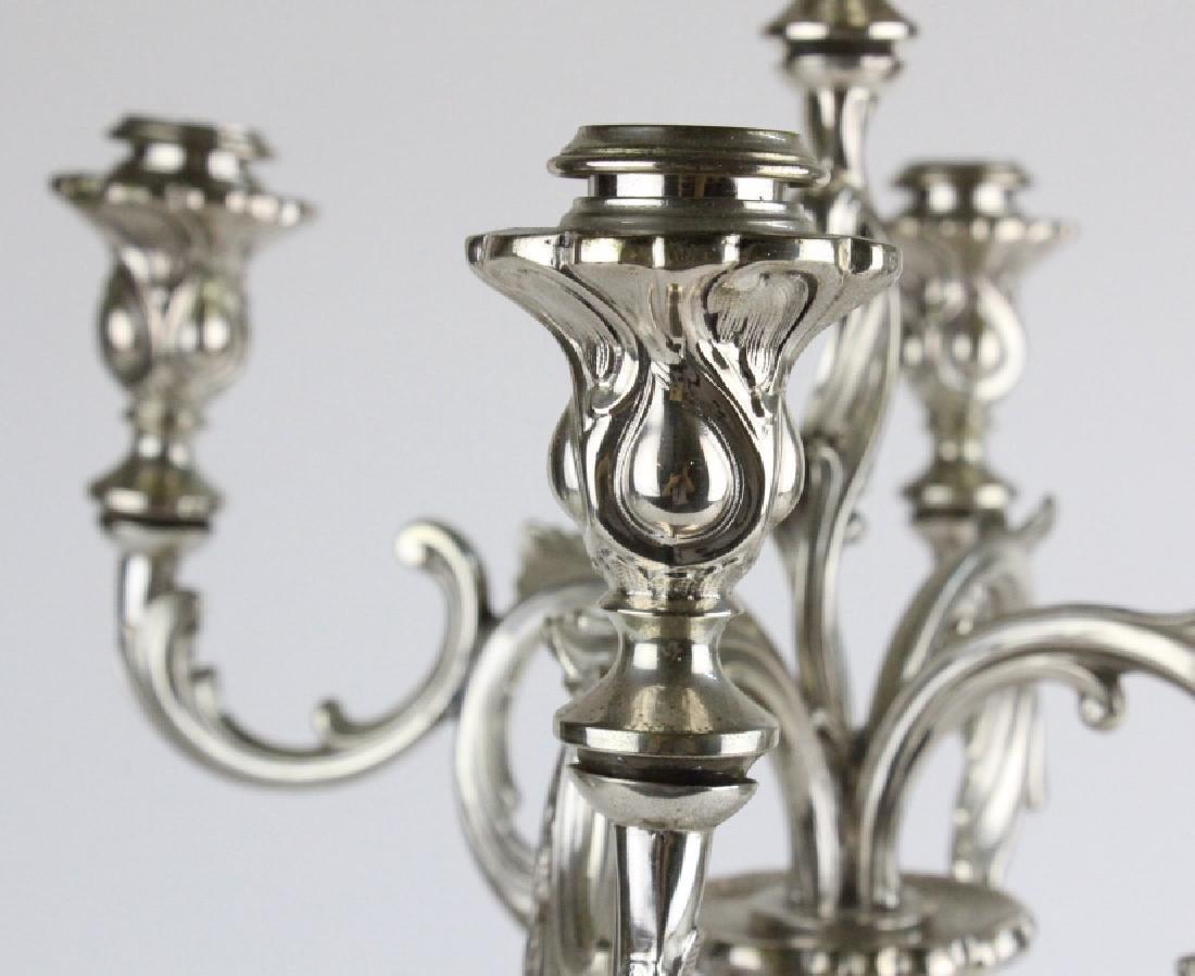 Antique PAIR German 800 Silver 5 Light Candelabras - 8
