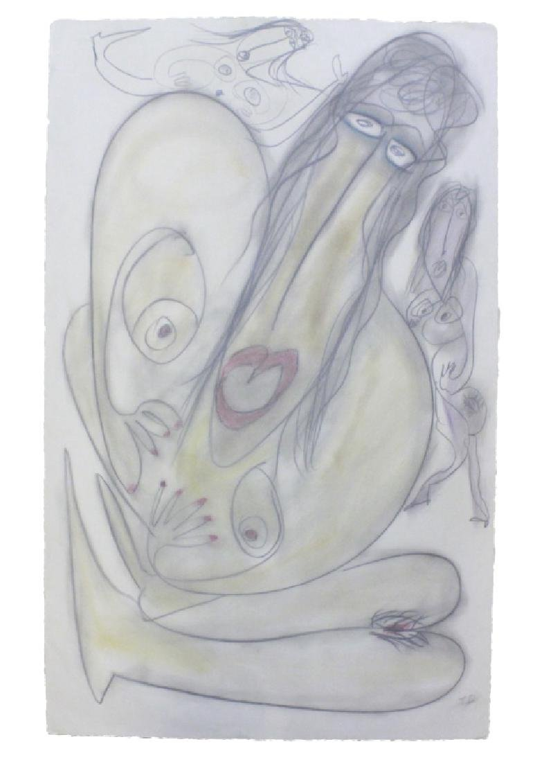 "Thornton Dial Folk Art 30"" x 44"" Charcoal & Pastel"