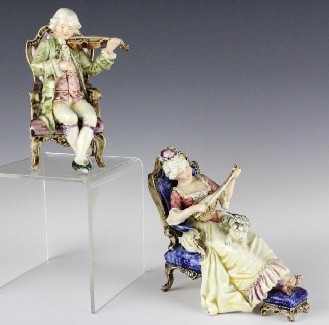 PAIR Continental Majolica Musical Figures in Chair