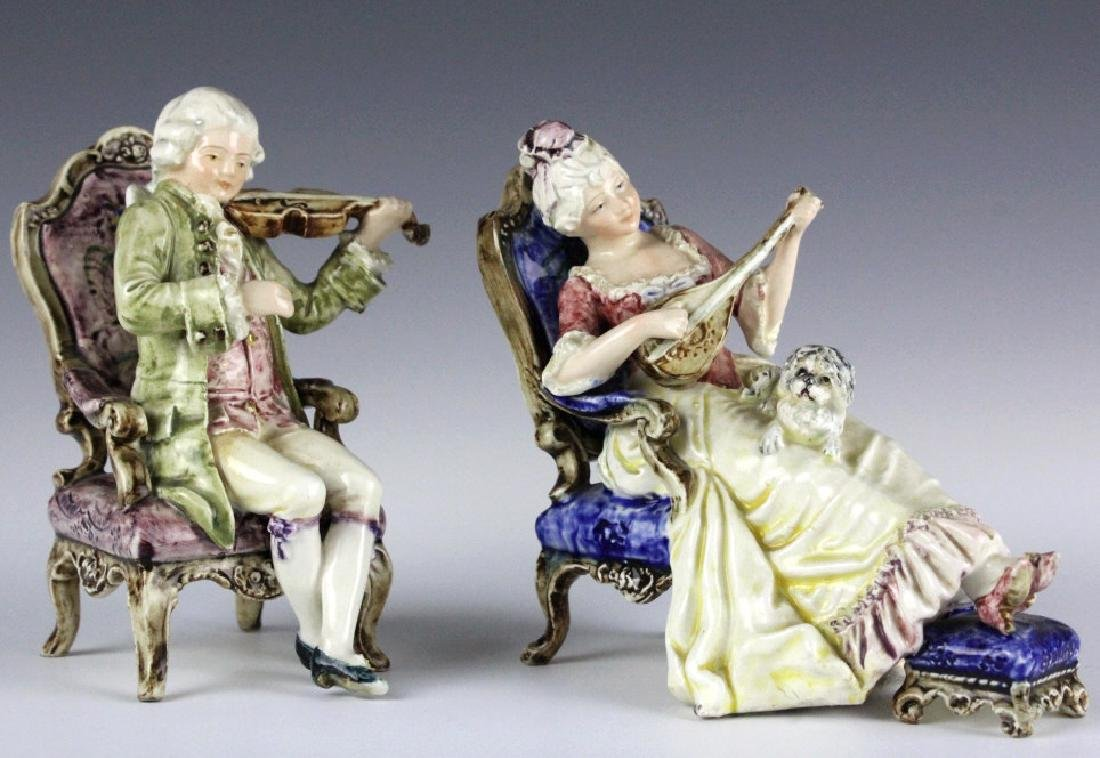 PAIR Continental Majolica Musical Figures in Chair - 2