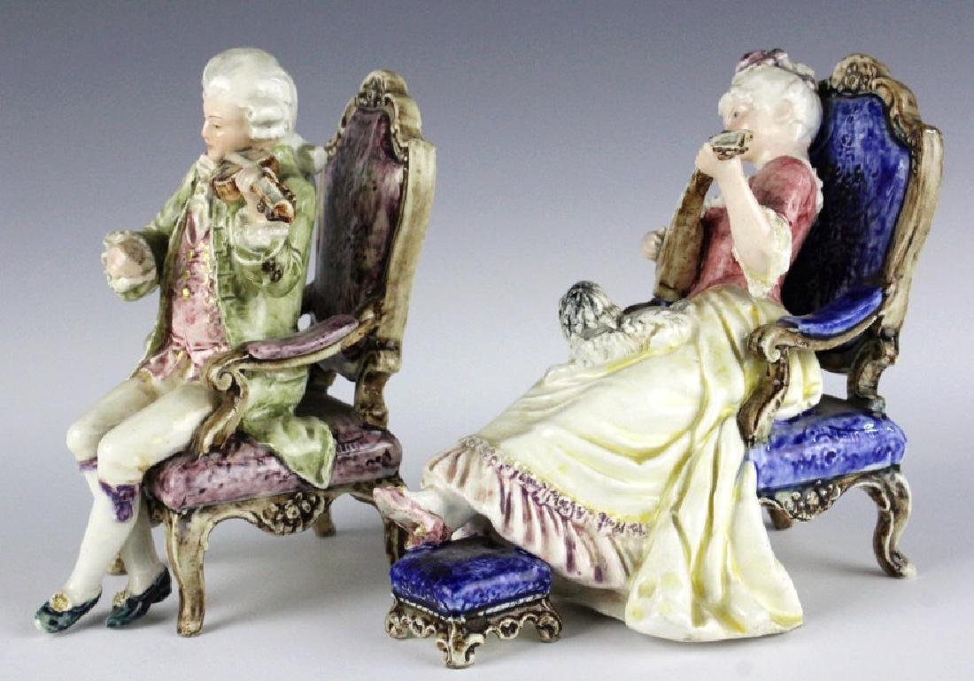 PAIR Continental Majolica Musical Figures in Chair - 3