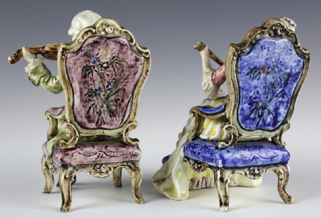 PAIR Continental Majolica Musical Figures in Chair - 4