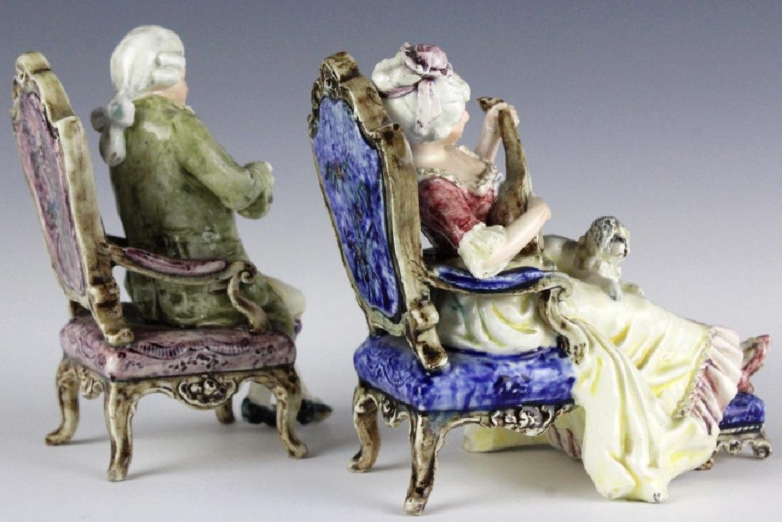 PAIR Continental Majolica Musical Figures in Chair - 5