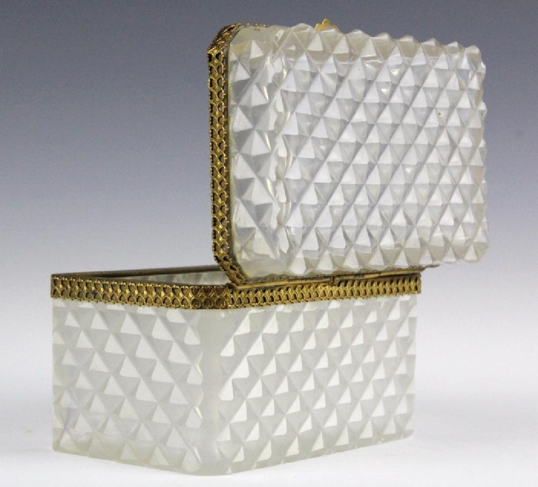 French Opaline Diamond Quilted Glass Dresser Box