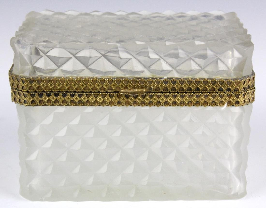 French Opaline Diamond Quilted Glass Dresser Box - 2