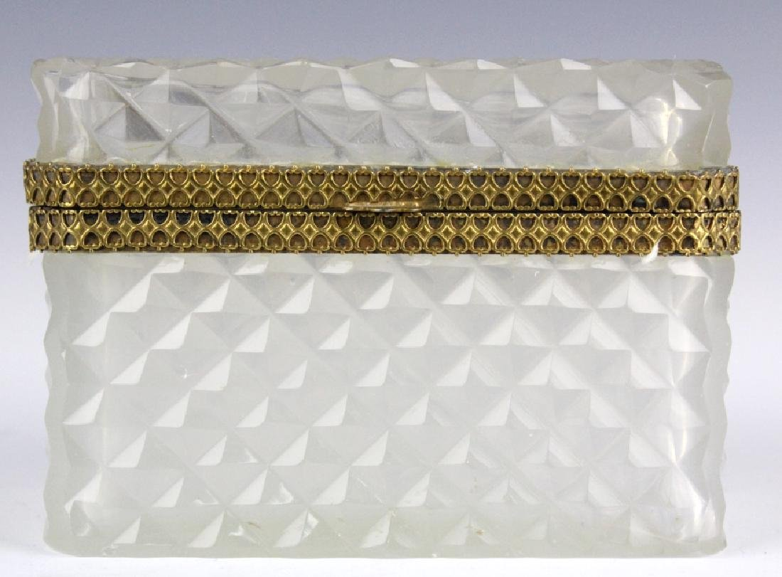 French Opaline Diamond Quilted Glass Dresser Box - 3