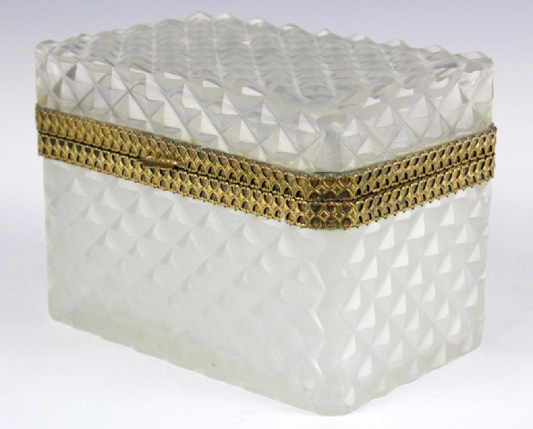 French Opaline Diamond Quilted Glass Dresser Box - 4