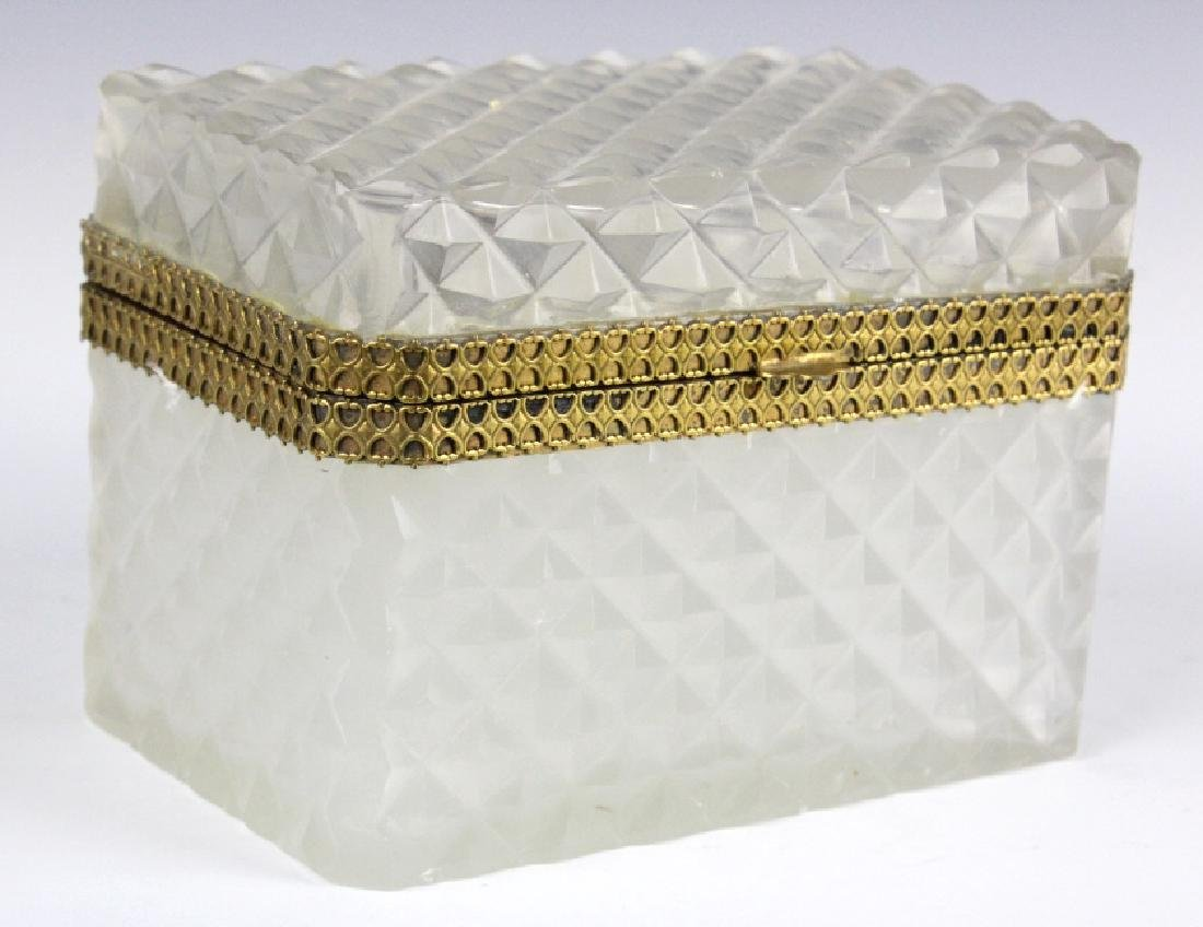 French Opaline Diamond Quilted Glass Dresser Box - 5