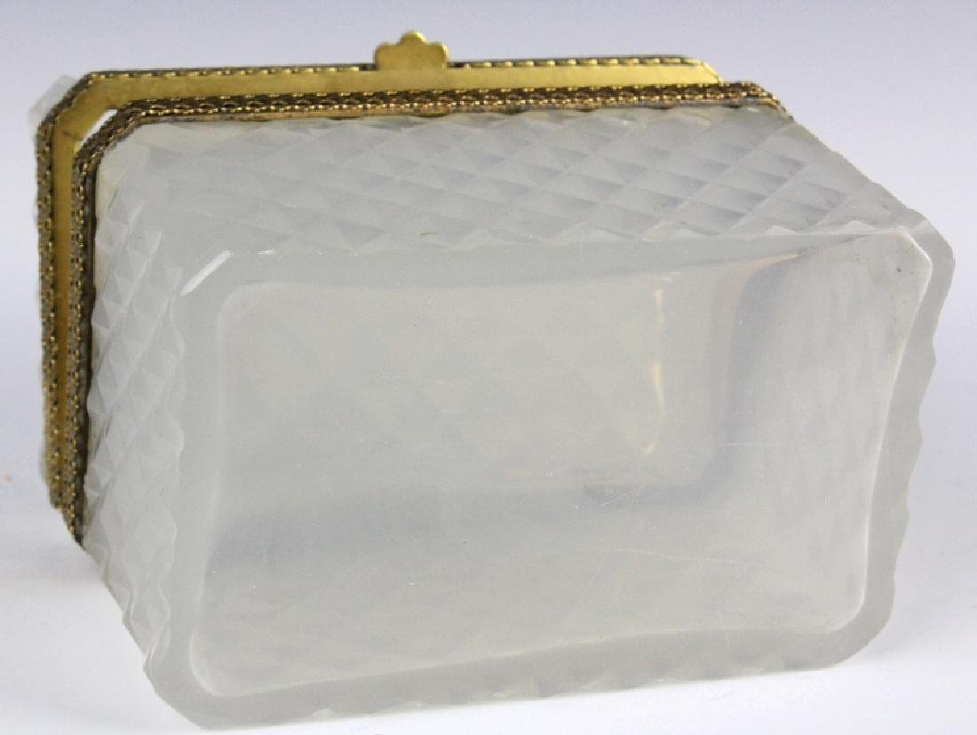 French Opaline Diamond Quilted Glass Dresser Box - 6