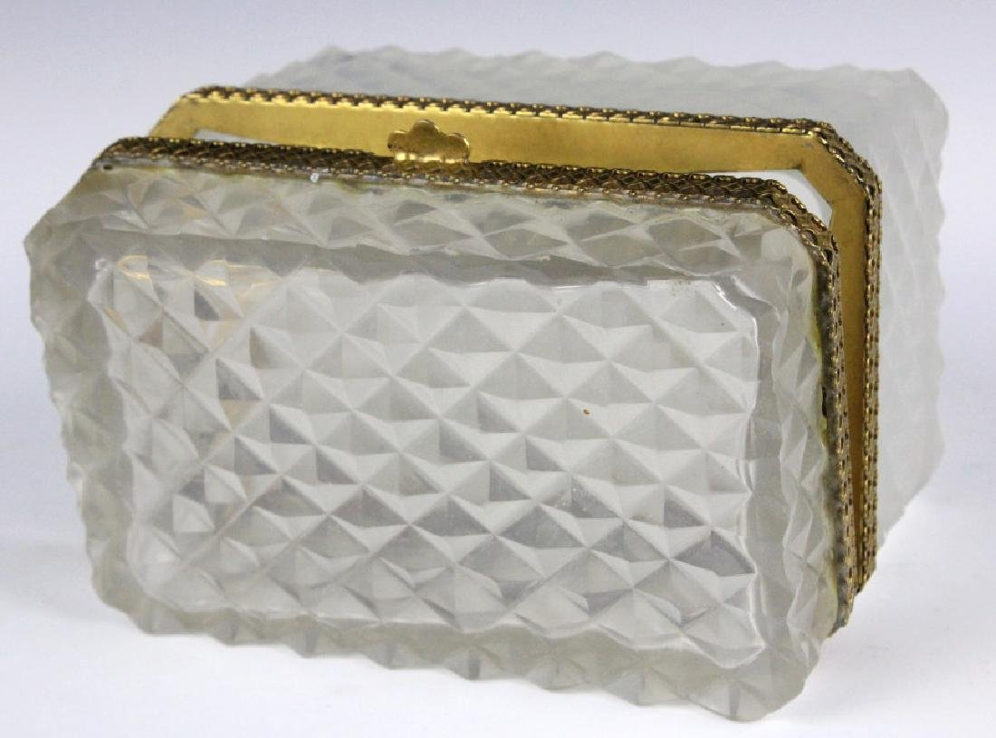 French Opaline Diamond Quilted Glass Dresser Box - 7