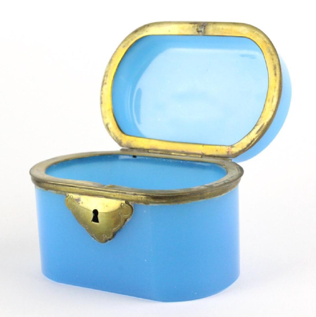 French Blue Opaline Art Glass Jewelry Dresser Box
