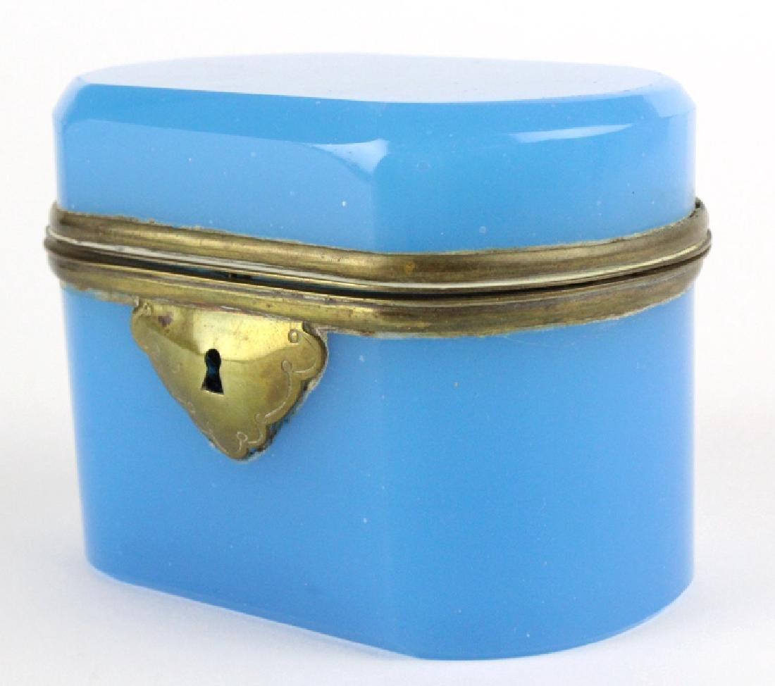 French Blue Opaline Art Glass Jewelry Dresser Box - 4