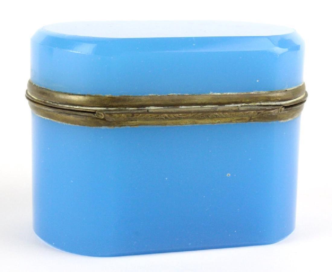 French Blue Opaline Art Glass Jewelry Dresser Box - 5